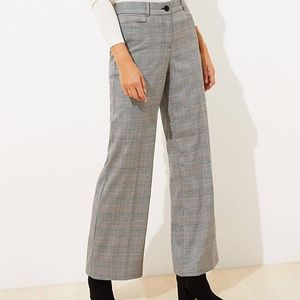 LOFT Women's Tall Plaid High Waist Wide Leg Pants